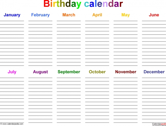 Excel Template For Birthday Calendar In Color (landscape Orientation