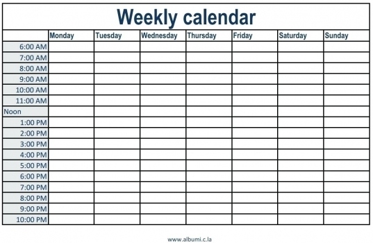 Printable Weekly Calendar With 15 Minute Time Slots | Best Calendar