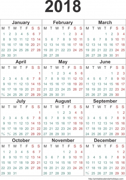 Yearly Calendar 2018 | 2017 Calendar Template | Happy New Year