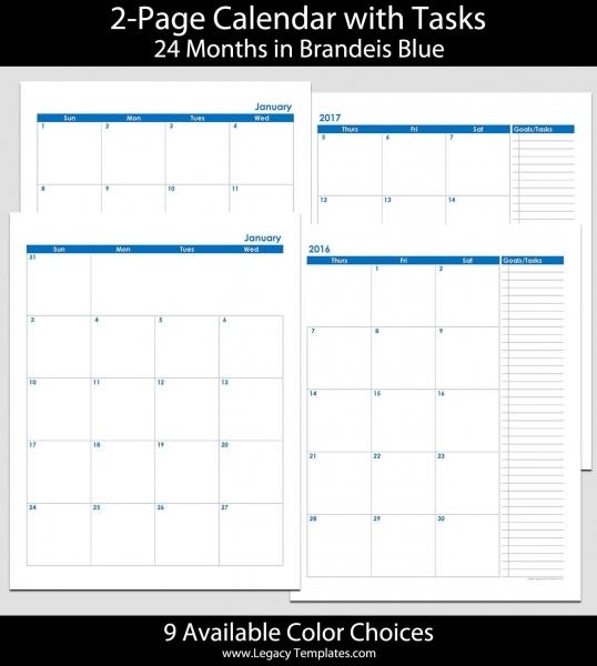 2016 & 2017 24 Month 2 Page Calendar – 8 1/2″ X 11″ | 2016 & 2017