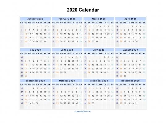 2020 Calendar Blank Printable Calendar Template In Pdf Word Excel