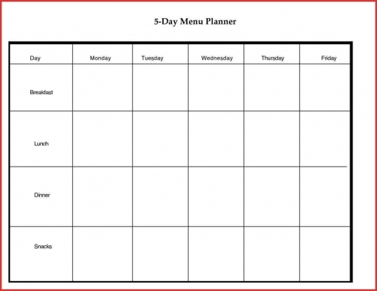 5 Day Calendar Template   Ideal.vistalist.co