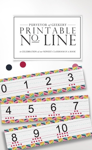 Free Classroom Printable! Bright Rainbow Themed Number Line Or