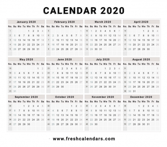 Printable 2020 Calendar Templates And Images