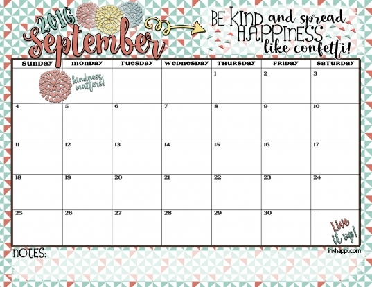 September 2016 Calendar There Is Confetti Everywhere!   Inkhappi