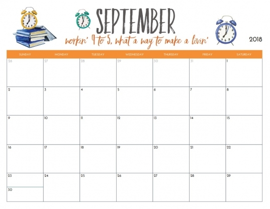 September 2018 Calendar Page Word Excel Pdf Printable Template