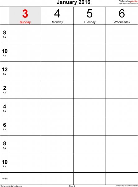 Weekly Calendar 2016 For Pdf   12 Free Printable Templates