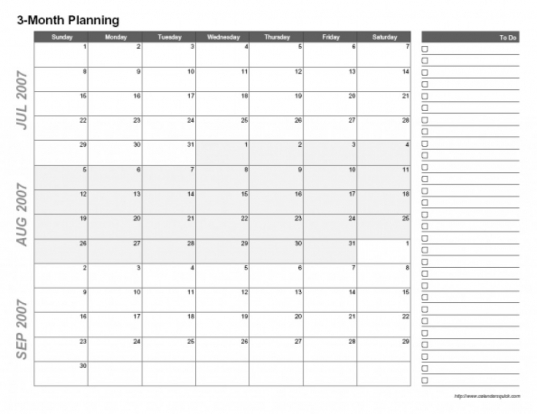 3 Months Calendar Template   Incep.imagine Ex.co In 3 Month Calendar