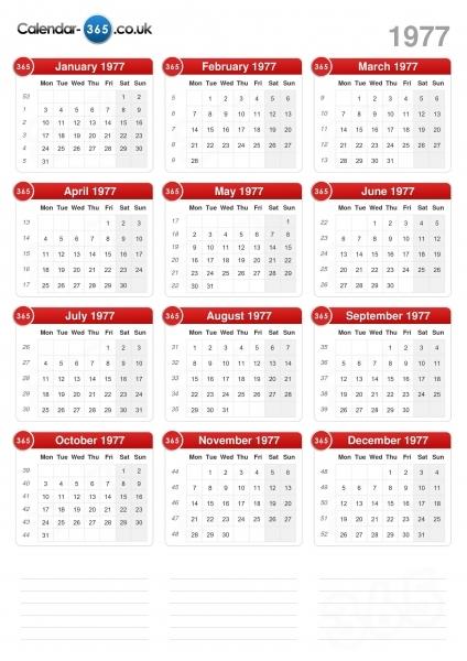Calendar 1977