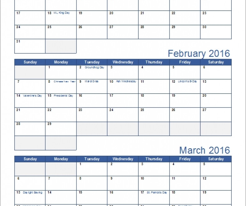 Calendar Template 3 Months Per Page Seven Photo Mesmerizing Month