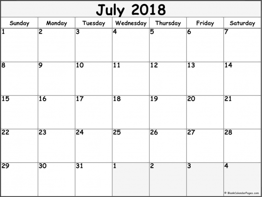 July 2018 Calendar Printable Template Pdf Holidays Word Excel