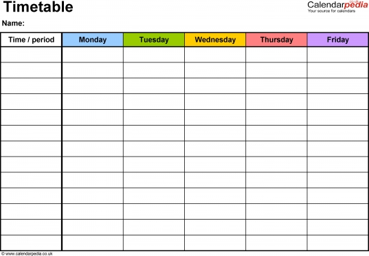 Timetables As Free Printable Templates For Microsoft Excel