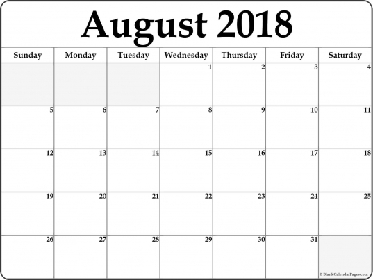 August 2018 Free Printable Blank Calendar Collection.