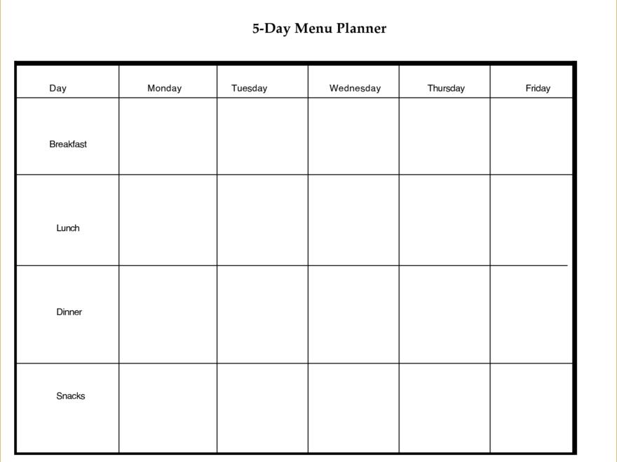 Blank Calendar Template 5 Day Week – Calendar Printable Markazeslami
