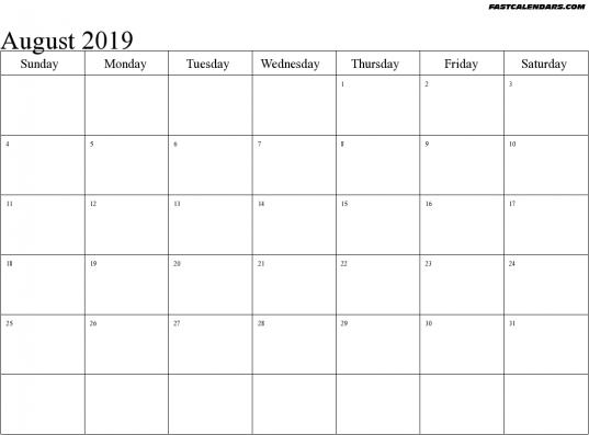 Blank Printable August 2019 Calendar