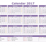 8 X 11 Printable Calendar With Holidays 2017