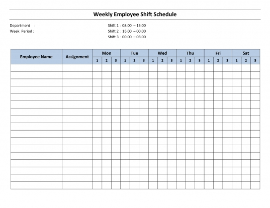 Free Printable Employee Work Schedules | Weekly Employee Shift
