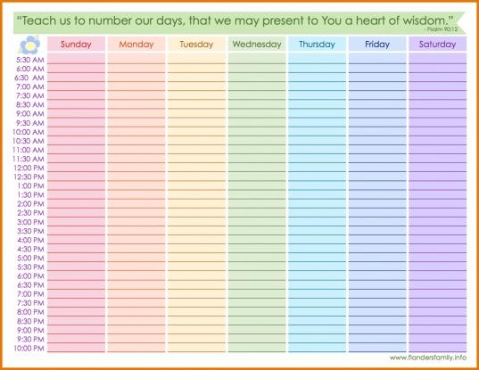 Printable Blank Weekly Calendar With Times | Calendar Template Printable