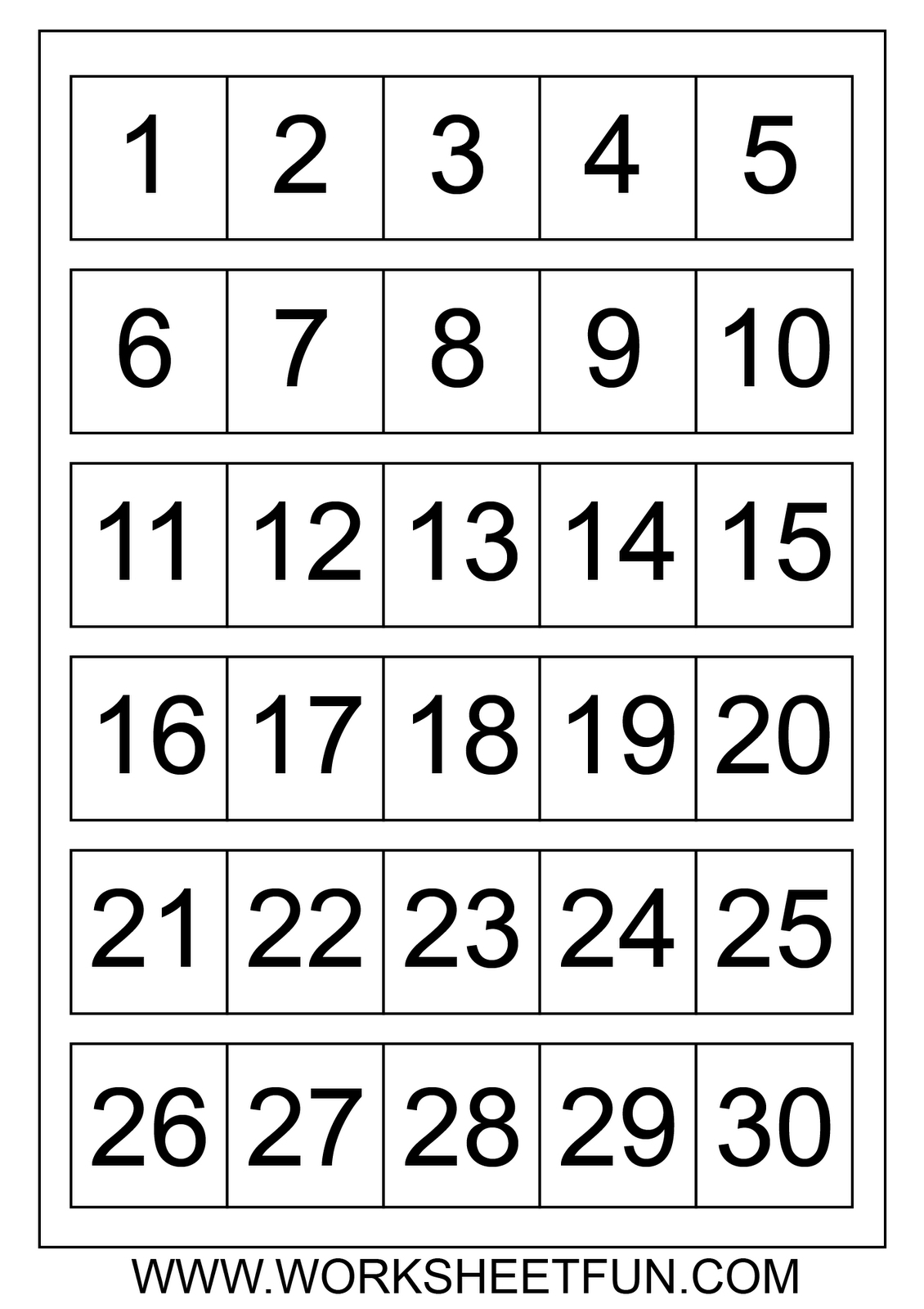 Printable Calendar Numbers 1 31 Free Calendar Printable Template
