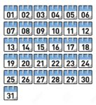 Printable Preschool Calendar Numbers 1-31 Teal