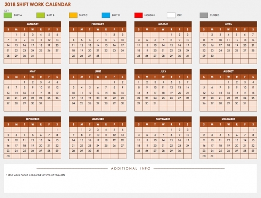 Shift Work Calendar Template   Acur.lunamedia.co