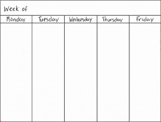 Weekly Calendar Printable 5 Day Weekly Calendar Template Online