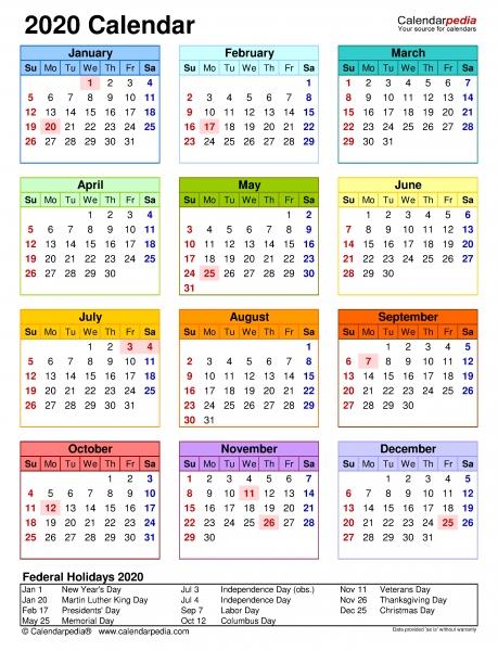 2020 Calendar   Free Printable Microsoft Excel Templates