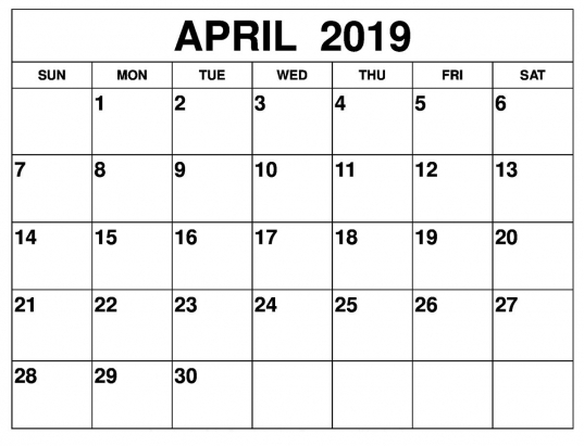 April 2019 Calendar Template | Printable Calendar July