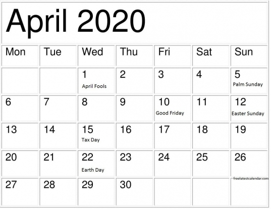April 2020 Calendar With Holidays Printable Notes Template