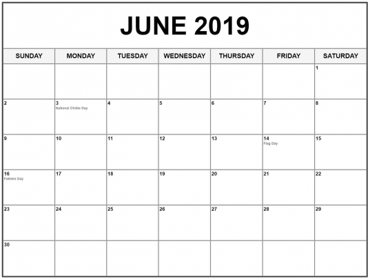 June 2019 Calendar Pdf, Word, Excel Printable Templates