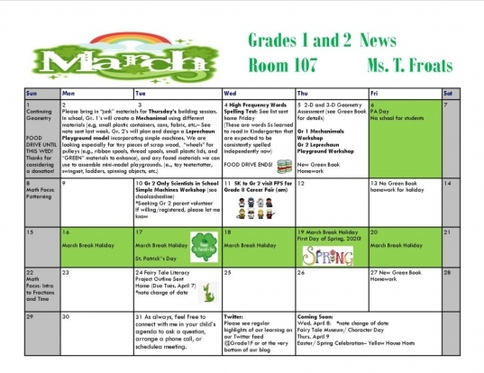 March Calendar And Updates – Grades 1 & 2 With Ms. Froats