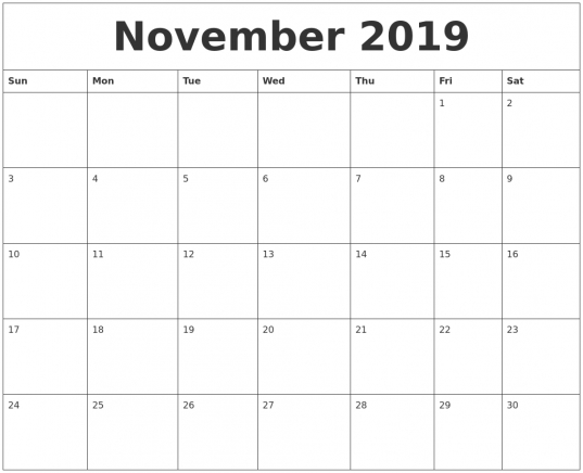 November 2019 Large Printable Calendar
