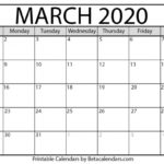March Call Out Calender