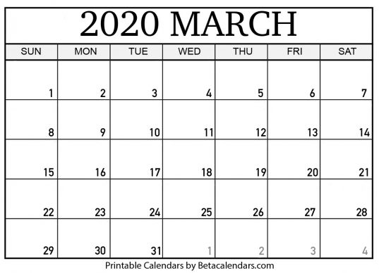 Printable March 2020 Calendar   Beta Calendars