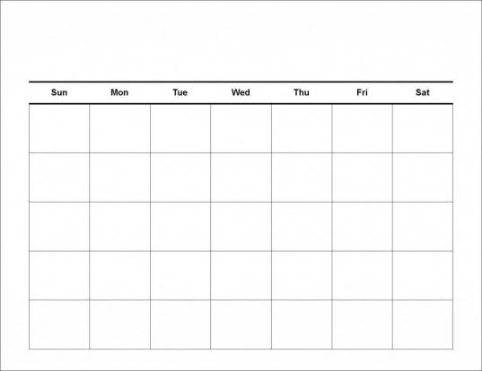 Printable Workout Calendar Blank | Weekly Calendar Template