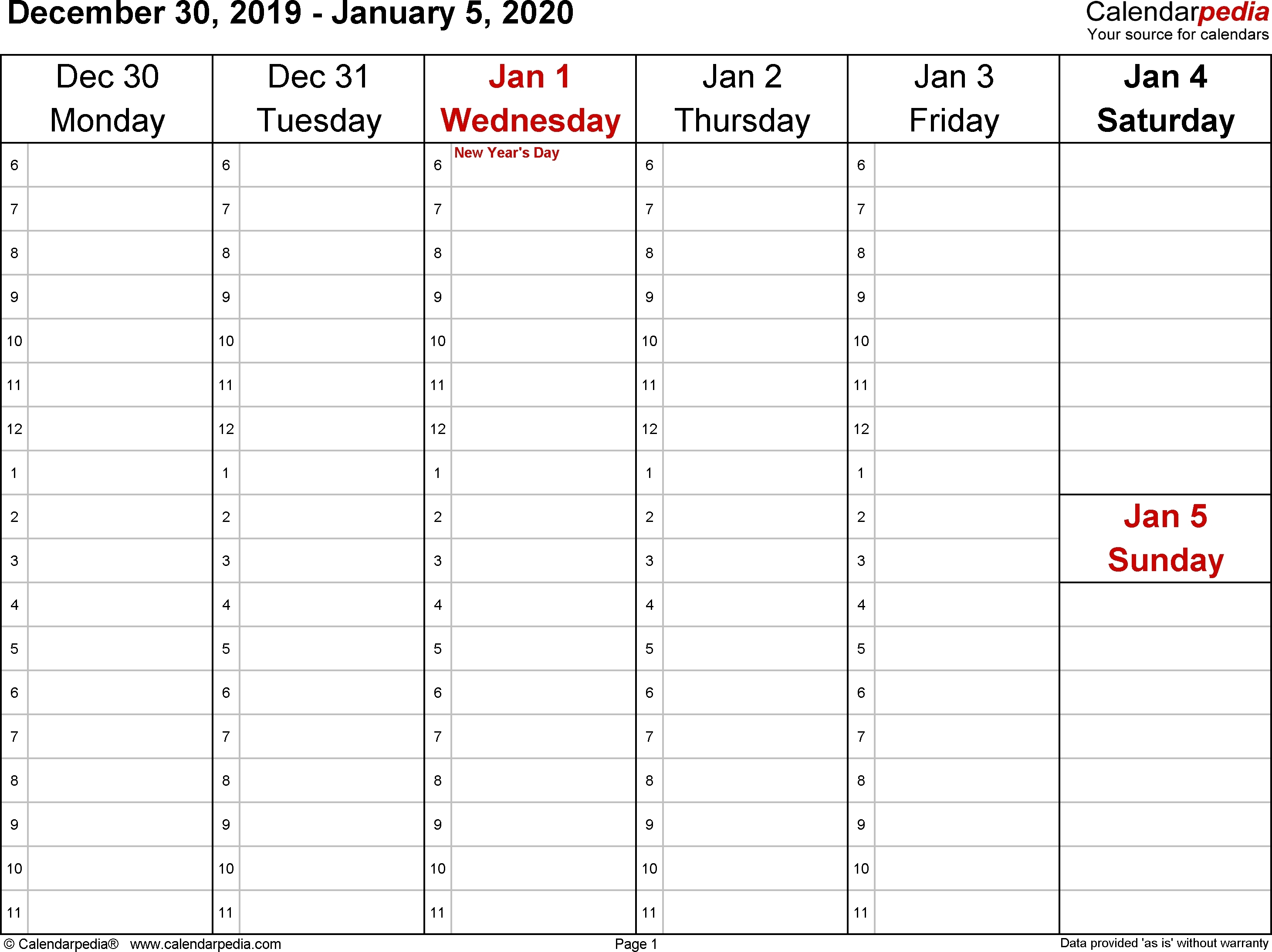 Weekly Calendars 2020 For Word – 12 Free Printable Templates