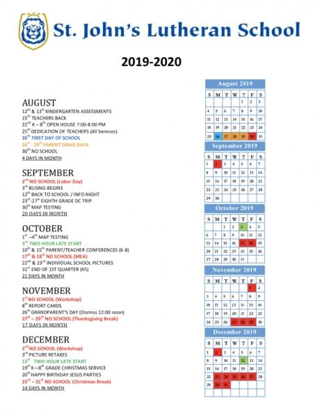 2019 2020 Calendar   St. John's Lutheran School