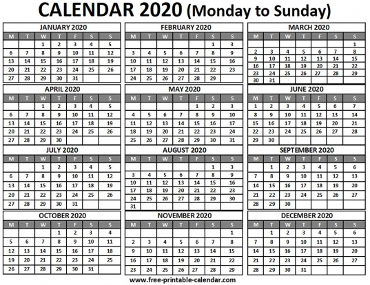 2020 Calendar   Free Printable Calendar