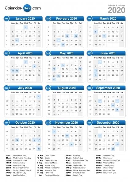 2020 Calendar (portrait Format) | Calendario 2018