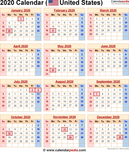 2020 Calendar With Federal Holidays