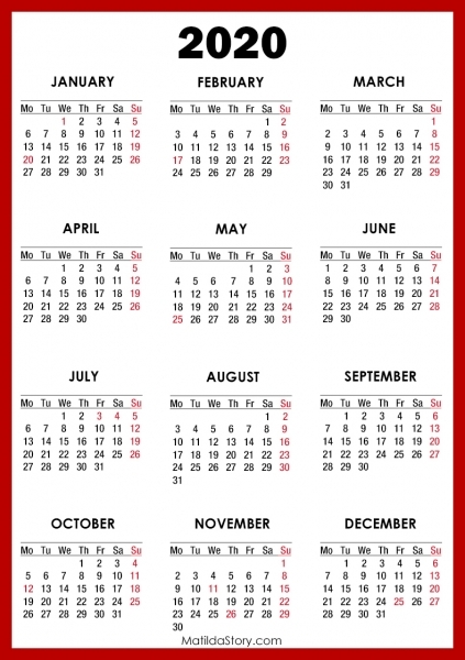 2020 Calendar With Holidays, Printable Free, Red – Monday