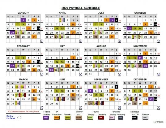 2020 Pay Periods Calendar