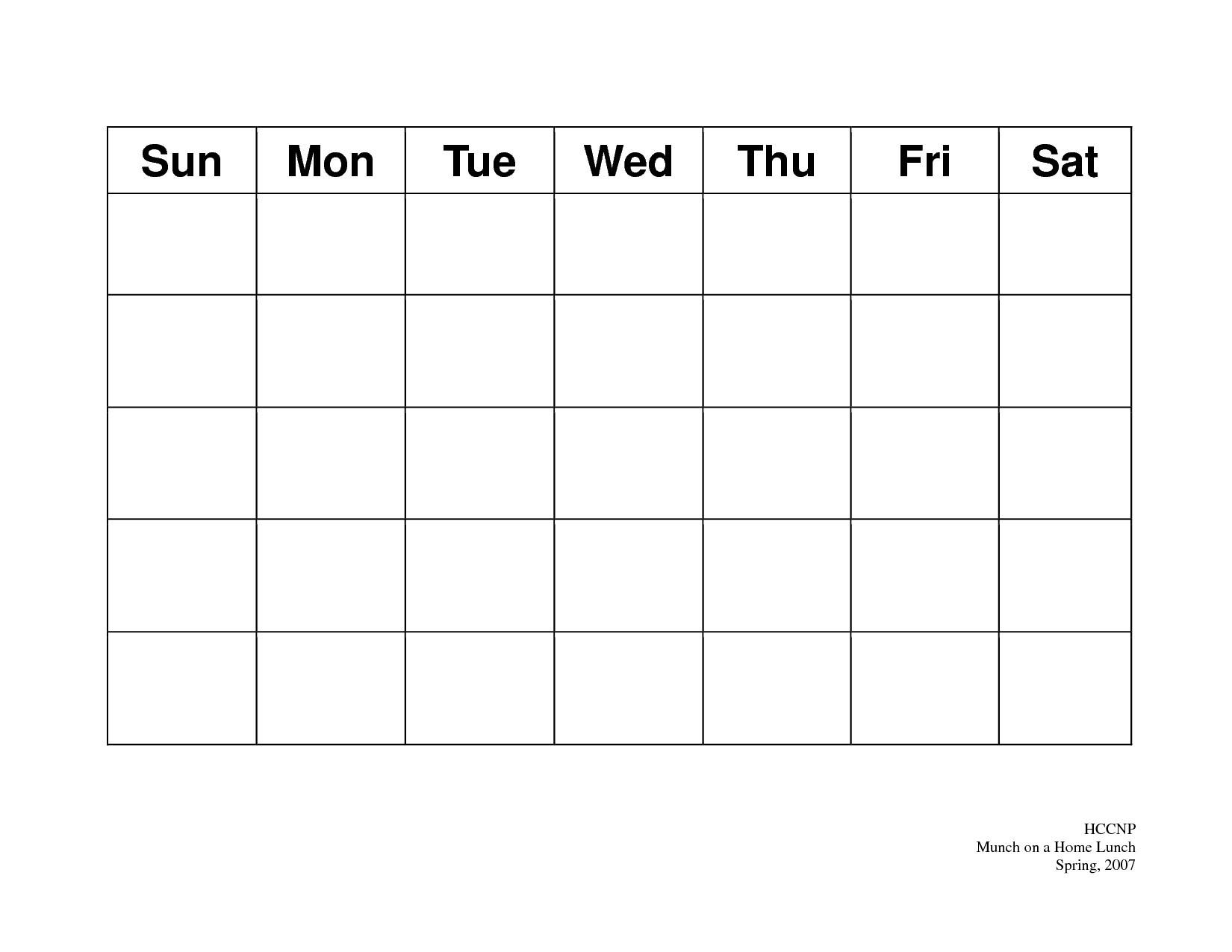 31 Day Blank Calendar Template | Ten Wall Calendar Blank