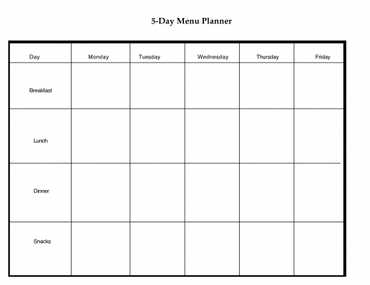 5 Day Weekly Planner Printable | Scope Of Work Template