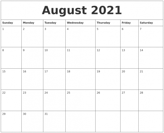 August 2021 Blank Monthly Calendar Template