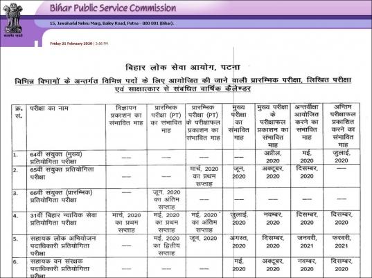 Bpsc Exam Calendar 2020: Bihar Bpsc Examination Calendar For