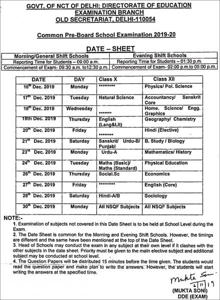 Cbse Pre Board Exam Date: Cbse Pre Board 2020 Exams In Delhi