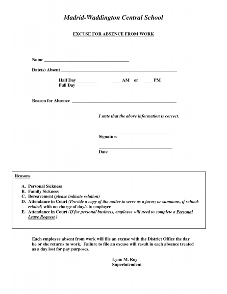 Doctors Excuse For Work Template | Excuse For Absence From