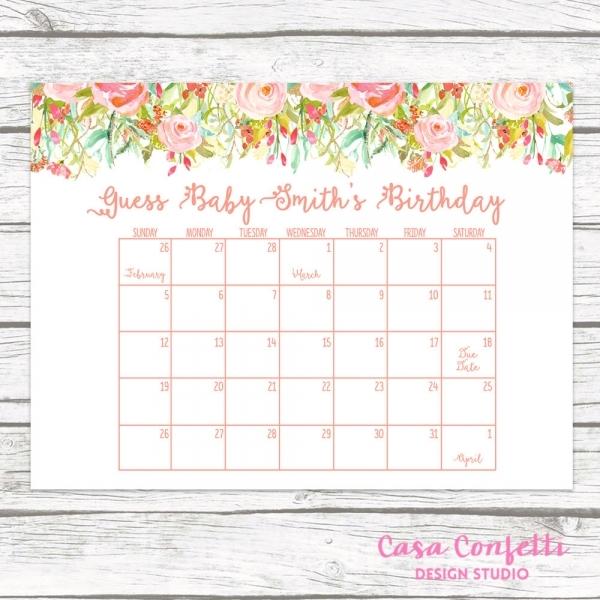 Due Date Calendar, Guess Ba's Due Date, Ba Shower