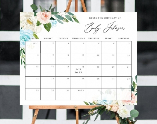 Due Date Calendar Template, Ba Shower Calendar, Ba Due
